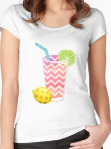 Cute Pink Chevron Lemonade with Lime Slice Women's Fitted Scoop T-Shirt