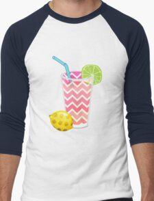 Cute Pink Chevron Lemonade with Lime Slice Men's Baseball ¾ T-Shirt