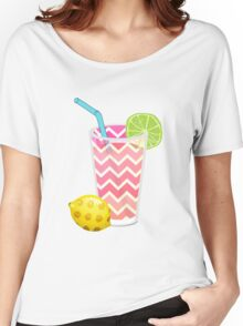 Cute Pink Chevron Lemonade with Lime Slice Women's Relaxed Fit T-Shirt