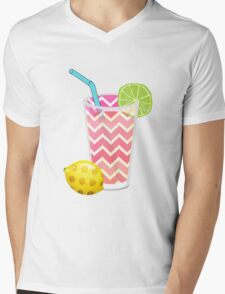 Cute Pink Chevron Lemonade with Lime Slice Mens V-Neck T-Shirt