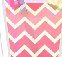 Cute Pink Chevron Lemonade with Lime Slice Sticker