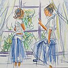 Girls at the window -impressionistic carchoal by Barbora  Urbankova