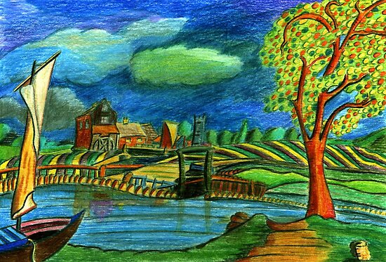 197 - CONSTABLE'S DEDHAM (COLOURED PENCILS) by BLYTHART