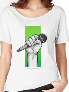 hand with microphone Women's Relaxed Fit T-Shirt
