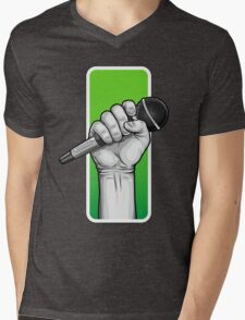 hand with microphone Mens V-Neck T-Shirt