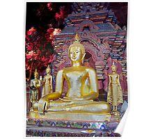 Buddha in the Flower Garden Poster