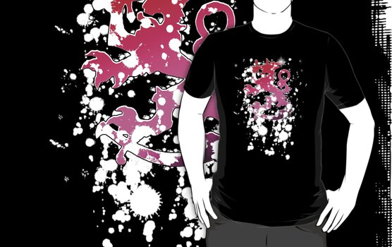 Finnish Lion Symbol - Pink'n'White Splatter by MrMasai