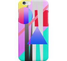 Bright Neon Colorful Geometric Shapes Pattern iPhone Case/Skin