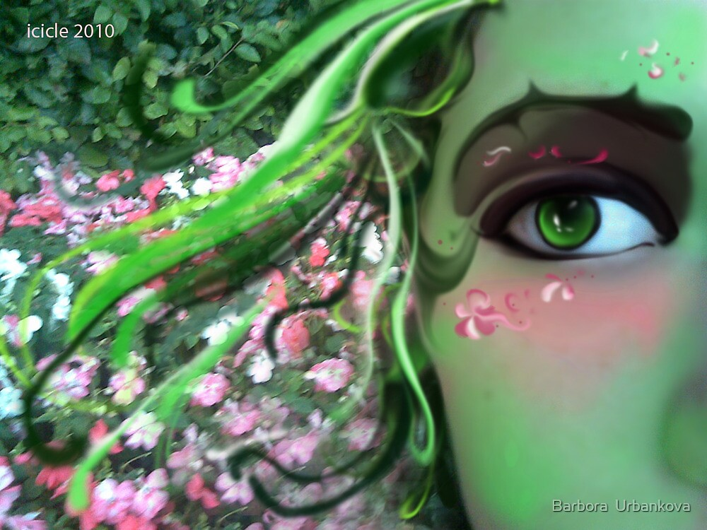 The Flower Mistress in Green by Barbora  Urbankova