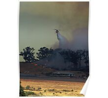 Helicopter dropping water on a bush/grass fire at Drouin West, Gippsland Poster