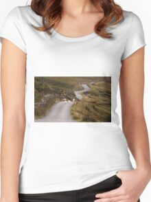 Welsh mountain road Women's Fitted Scoop T-Shirt