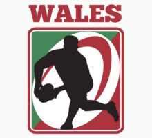 rugby player running passing ball wales by patrimonio