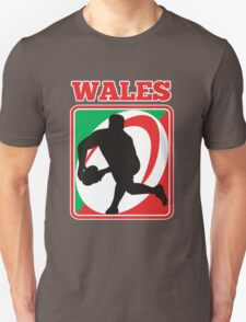 rugby player running passing ball wales Unisex T-Shirt