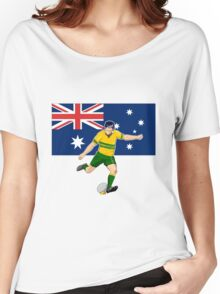 rugby player running kicking ball australia flag Women's Relaxed Fit T-Shirt