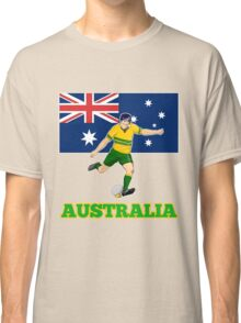 rugby player running kicking ball australia flag Classic T-Shirt