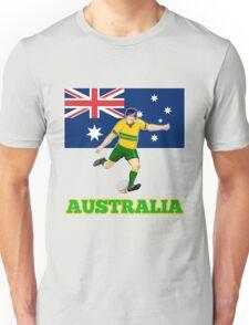 rugby player running kicking ball australia flag Unisex T-Shirt
