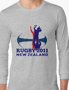rugby player line out ball new zealand 2011 Long Sleeve T-Shirt