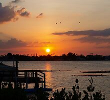 Sunset beyond the dock on the bay by ♥⊱ B. Randi Bailey