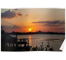 Sunset beyond the dock on the bay Poster