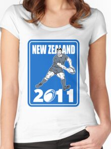 new zealand 2011 rugby player passing ball Women's Fitted Scoop T-Shirt