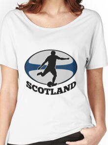 rugby player running kicking ball Women's Relaxed Fit T-Shirt