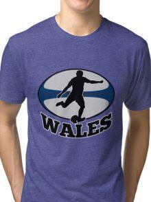 rugby player running kicking ball Wales Tri-blend T-Shirt