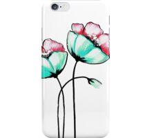 Beautiful Pink & Teal Watercolor Painted Flowers iPhone Case/Skin