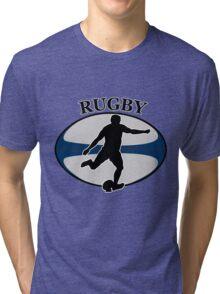 rugby player running kicking ball Tri-blend T-Shirt