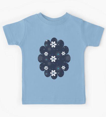 Dark Blue White Flowers Kids Tee