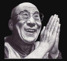 HH XIVth Dalai Lama T-Shirt by RIYAZ POCKETWALA