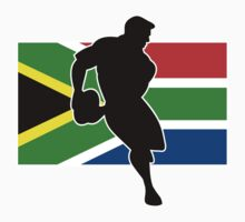 rugby player passing ball south africa flag by patrimonio