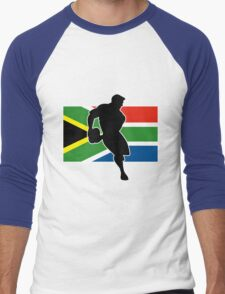 rugby player passing ball south africa flag Men's Baseball ¾ T-Shirt