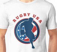 rugby player running passing ball USA Unisex T-Shirt