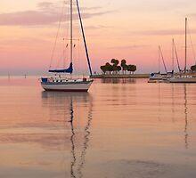 """Peaceful Harbor"" - sailboats anchored in harbor by John Hartung"