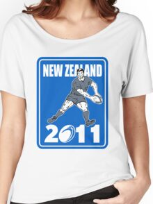 rugby player passing ball New Zealand 2011 Women's Relaxed Fit T-Shirt