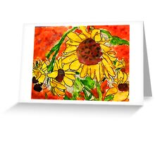 Crazy daisey on orange red backround Greeting Card