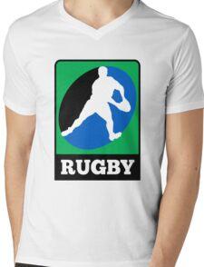 rugby player running passing ball Mens V-Neck T-Shirt