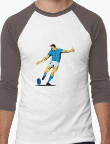 rugby player running kicking ball Men's Baseball ¾ T-Shirt