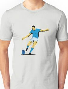 rugby player running kicking ball Unisex T-Shirt
