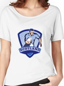 rugby player running with ball scotland Women's Relaxed Fit T-Shirt