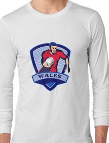 rugby player running with ball wales Long Sleeve T-Shirt