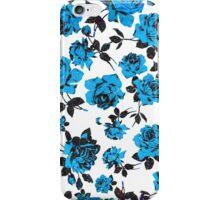 Rustic Blue and Black Stem Rose Pattern iPhone Case/Skin