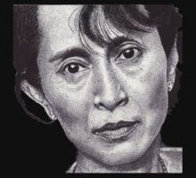 Aung San Suu Kyi - T-Shirt by RIYAZ POCKETWALA