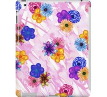 Pretty Girly Watercolor Flowers on Pink Watercolor iPad Case/Skin