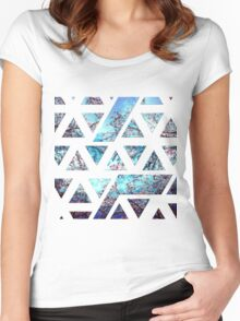 Pretty Pink Cherry Blossoms on Sky Blue Geometric  Women's Fitted Scoop T-Shirt