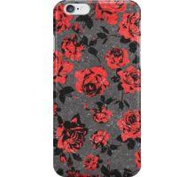 Rustic Red and Black Stem Rose Pattern iPhone Case/Skin
