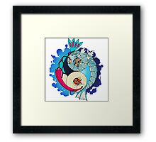 Paint-Splattered Aquatic Yin Yang - Gyarados & Milotic Framed Print