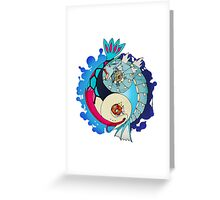 Paint-Splattered Aquatic Yin Yang - Gyarados & Milotic Greeting Card