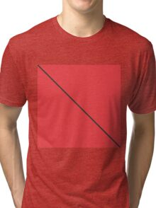 Modern Minimalistic Black Stripe on Coral Red Tri-blend T-Shirt