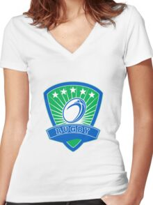 rugby ball and shield Women's Fitted V-Neck T-Shirt
